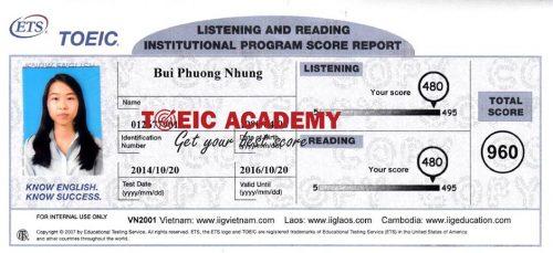 Bùi Phương Nhung 960 TOEIC