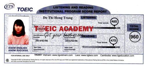Đỗ Thị Hồng Trang 960 Toeic