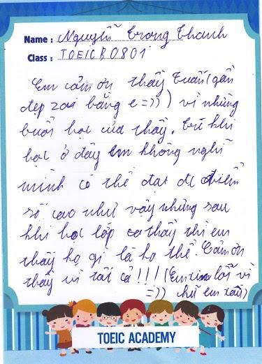Nguyễn Trọng Thanh viết phiếu cảm nhận tại TOEIC Academy