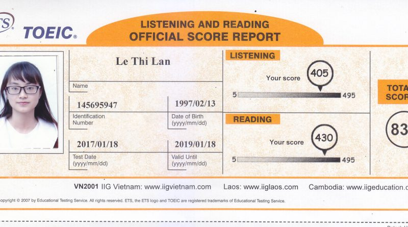 Le Thi Lan 835 TOEIC
